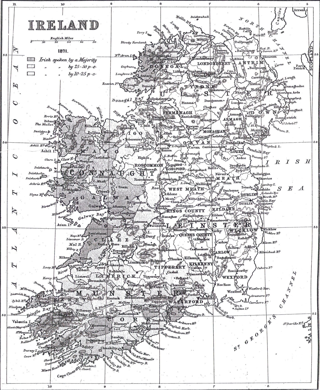 Language Map of Ireland by E.G. Ravenstein