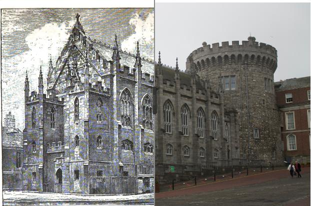 Image of Dublin Castle overlaid on modern photograph